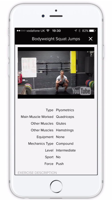 Online training app with showing squat fitness workouts